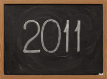 2011 - tiza blanca en la pizarra Imágenes de archivo libres de regalías