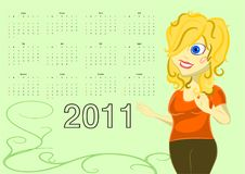 2011 Vector Calendar with Smiling Woman Stock Images