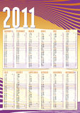 2011 vertical calendar with waves. 2011 vertical calendar in english with waves and all days counting royalty free illustration