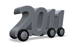 2011 on wheels. The year 2011 on wheels on white background - 3d illustration Stock Photography