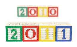 2011 Wooden Blocks Horizontal Royalty Free Stock Photos