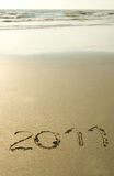 2011 written on the sand Royalty Free Stock Images