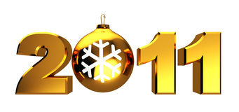2011 xmas sign. Abstract 3d illustration of 2011 sign with cristmas ball, isolated over white background Vector Illustration