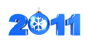 2011 xmas sign. 3d illustration of sign 2011 with xmas ball, isolated over white Stock Photo