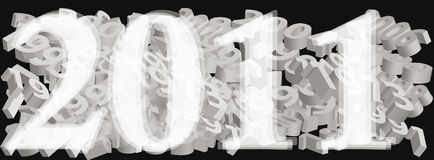 2011 year. New year date over old years dates in format Vector Illustration