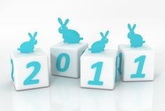 2011 year. New rabbits on the bricks vector illustration