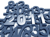 2011 year background. 2011 year with overlapping numbering as background 3d illustration royalty free illustration