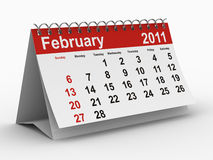 2011 year calendar. February. Isolated 3D image Royalty Free Stock Image
