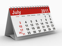 2011 year calendar. July. Isolated 3D image Stock Images