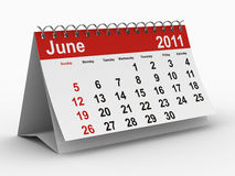 2011 year calendar. June. Isolated 3D image Royalty Free Stock Photo