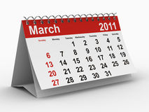2011 year calendar. March. Isolated 3D image vector illustration