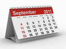 2011 year calendar. September. Isolated 3D image Royalty Free Stock Photography
