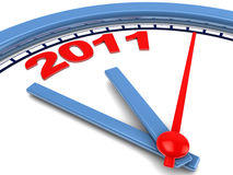 2011 year at clock. Abstract 3d illustration of clock dial with 2011 year sign Royalty Free Stock Photography