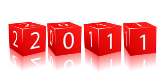 2011 year numbers on red cubes. Illustration isolated on white background Royalty Free Stock Image