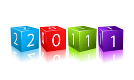 2011 year numbers on red cubes Royalty Free Stock Images