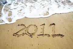2011 year on sand Stock Photo
