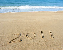 2011 year on sand Stock Image