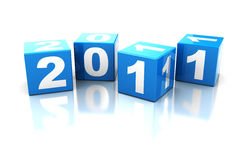 2011 year sign. Abstract 3d illustration of blue cubes with '2011' sign Royalty Free Illustration