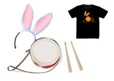 2011 year symbol. Rabbit Ears Headband and Rabbit's Drum Royalty Free Stock Image