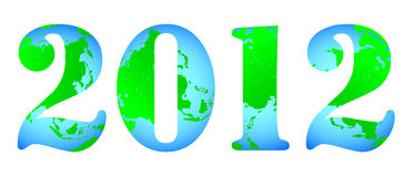 2012 logo. No background characters of the Earth 2012 Royalty Free Stock Images