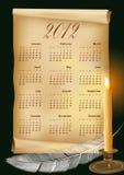 2012个日历例证向量 图库摄影