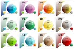 2012个日历司令官五颜六色的向量 图库摄影