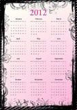 2012个日历欧洲花卉脏的向量 免版税库存照片