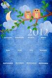 2012个日历猫头鹰 免版税库存照片