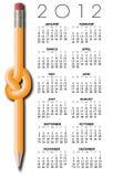 2012个日历设计铅笔 库存图片