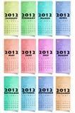 2012个日历颜色纸张 免版税库存图片