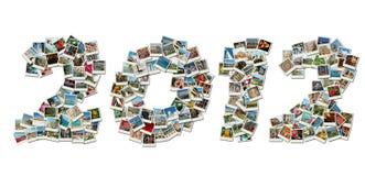 2012个看板卡拼贴画做pf照片旅行 免版税图库摄影