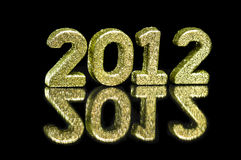 2012个闪烁金黄好的编号 图库摄影