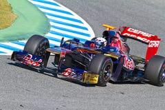 2012年丹尼尔f1 ricciardo rosso小组托罗 免版税图库摄影