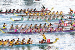 2012年小船龙洪int kong l种族 库存照片