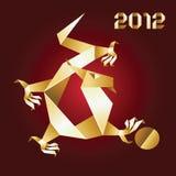 2012年龙金子origami红色年 库存图片