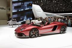 2012年aventador日内瓦j lamborghini汽车展示会 库存图片