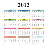 2012清楚的简单的日历 向量例证