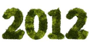 2012被弄脏的绿色长毛的字法 免版税库存图片