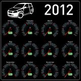 2012年日历在向量的车速表汽车。 免版税图库摄影
