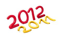 2012 and 2011 are made of plasticine. Royalty Free Stock Images