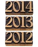 2012 2013 2014接踵而来的年 免版税库存图片