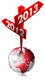 2012-2013 Red Sign. Red Sign with two arrows and written 2012-2013 over the globe vector illustration