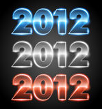2012. Blue and gray and orange reflective numbers 2012 Royalty Free Stock Photos
