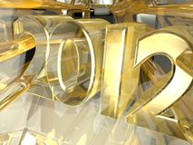 2012 in 3d. An illustrated background with a golden 3D design of 2012 Stock Illustration