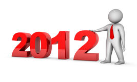 2012 with 3d businessman Stock Image