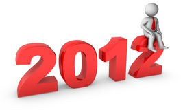 2012 with 3d businessman Royalty Free Stock Image