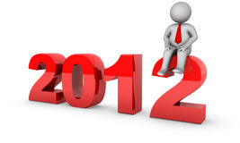 2012 with 3d businessman Royalty Free Stock Photography