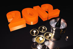 2012 Años Nuevos con Champán Imágenes de archivo libres de regalías