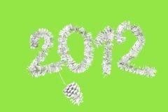 2012 Años Nuevos hechos del oropel de plata Imagen de archivo libre de regalías