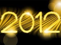 2012 abstrakte goldene Wellen auf schwarzem Hintergrund Stockfotografie
